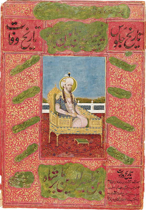 Nasir-ud-din Humayun kneeling on a golden throne