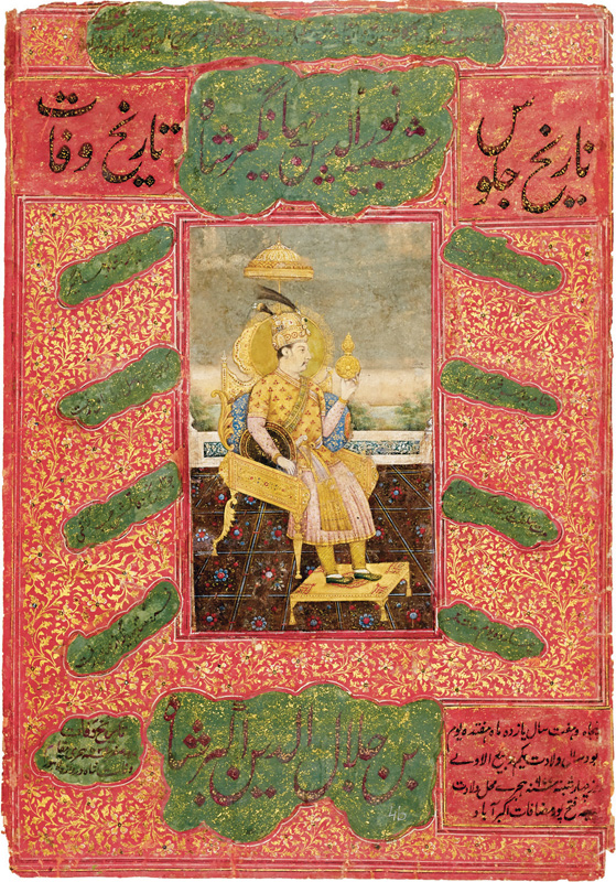 Nur-ud-din Jahangir seated on throne as the world-seizer