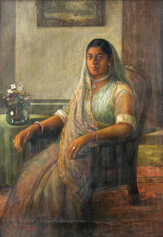 A Jain Gujarati Philanthropist Lady by Raja Ravi Varma