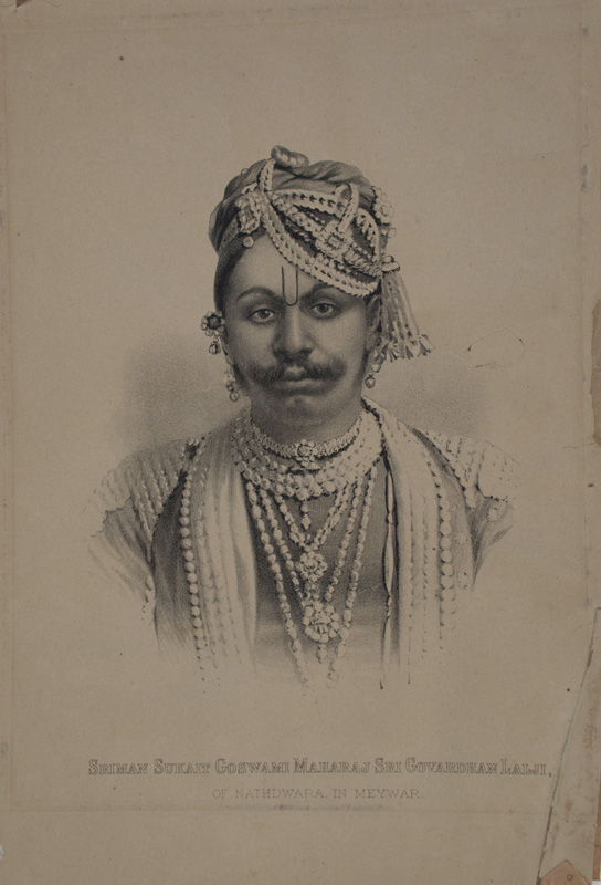 Lithograph of Govardhanlalji after a British photographers portrait