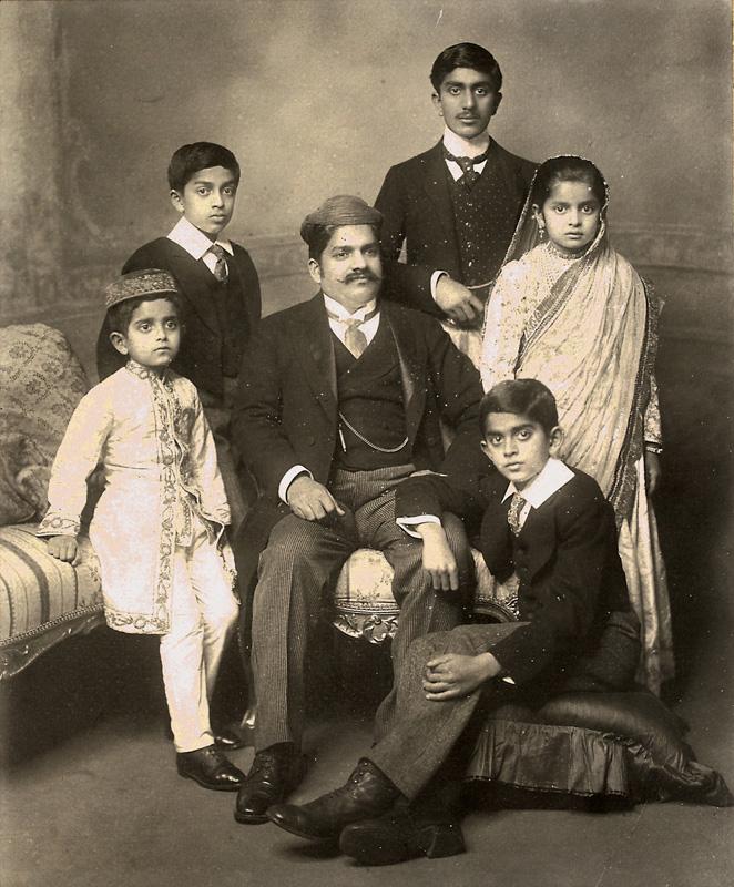 Maharaja Sayajirao Gaekwad III with family
