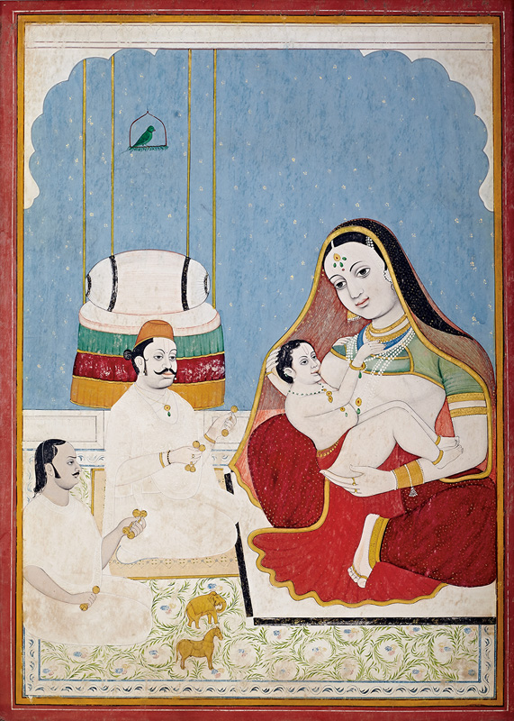 Govardhanlalji venerating the infant Krishna