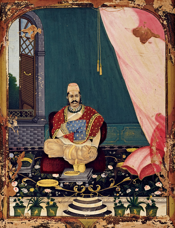 Portrait of Govardhanlalji in Company style with colonial settings