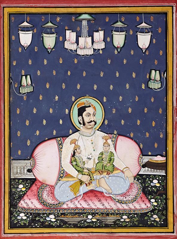Govardhanlalji sitting along with his children against large bolster