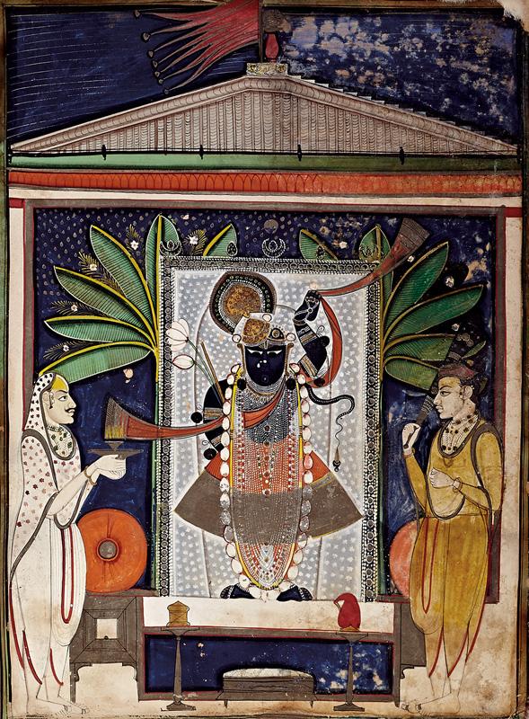 Tilkayat Girdharji performing Aarti with his son on Sharad Purnima day