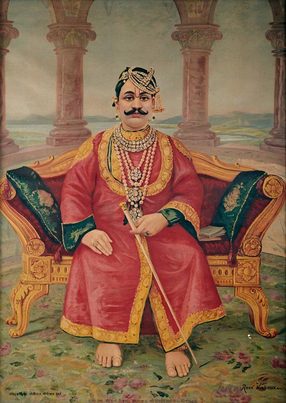 Tilkayat Govardhanlalji sitting on a red velvet sofa like a Maharaja