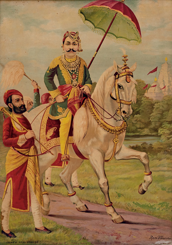 Govardhanlalji passing through temple site while riding on a horse