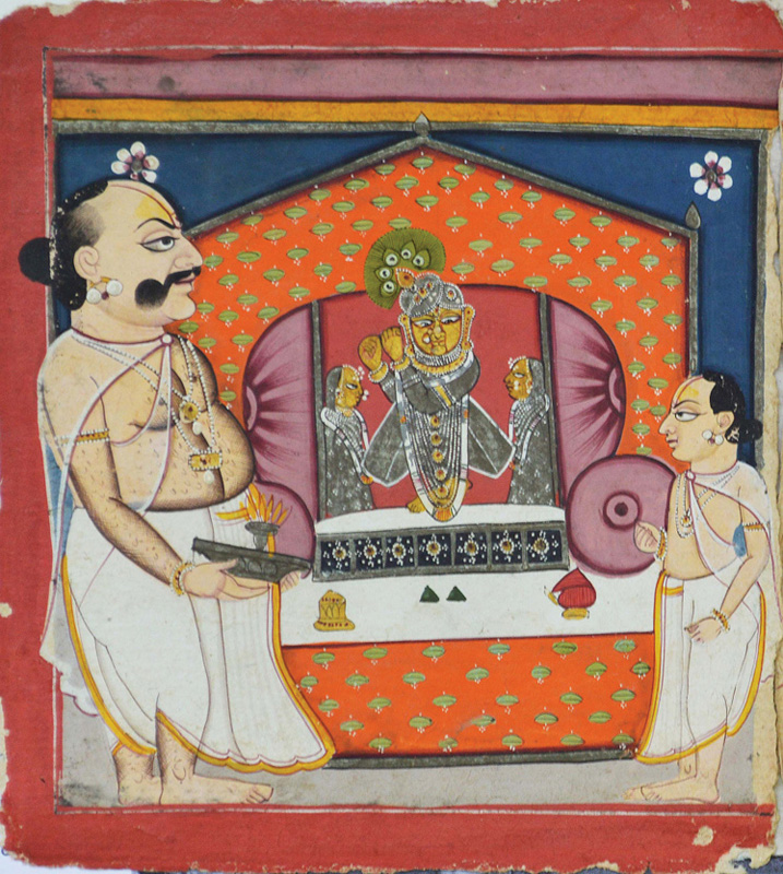 Tilkayat performing seva of Madanmohanji
