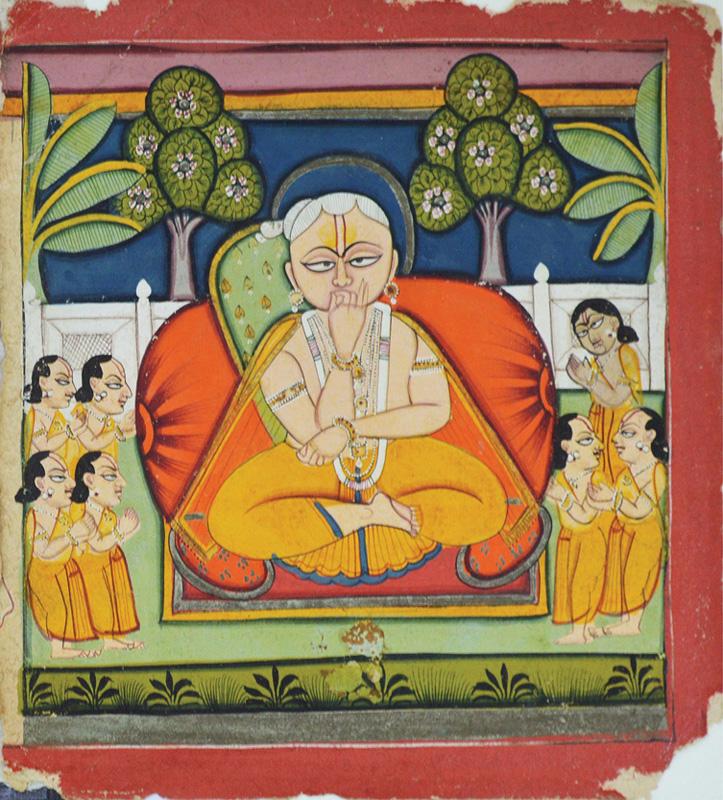 Vitthalnathji and his seven sons, performing Pranayama