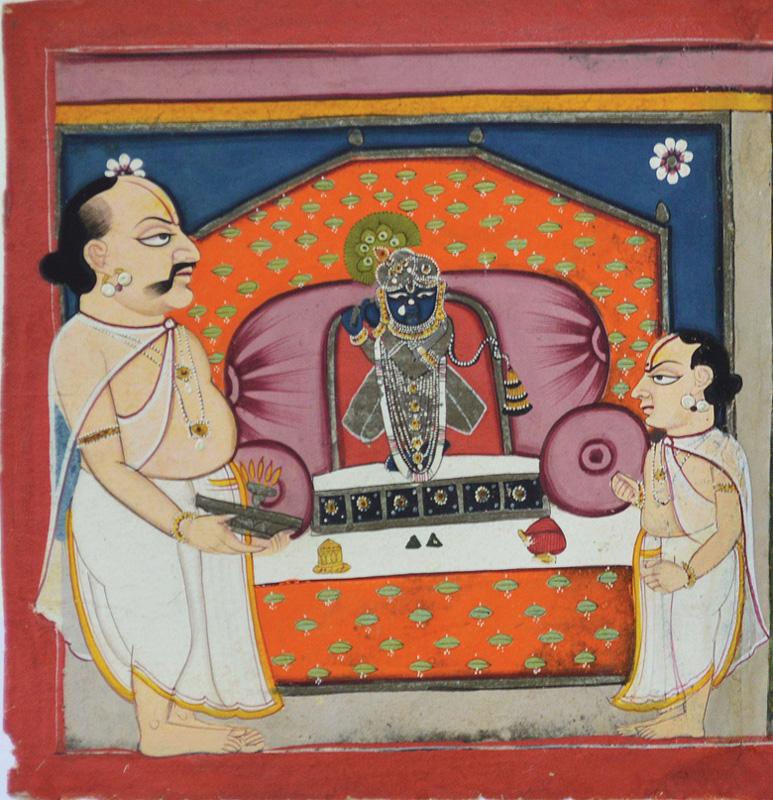 Tilkayat performing seva of Gokulchandramaji