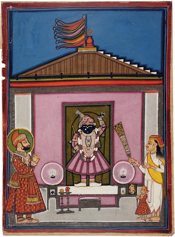 Maharana Swarup Singh worshiping Shrinathji at Nathdwara