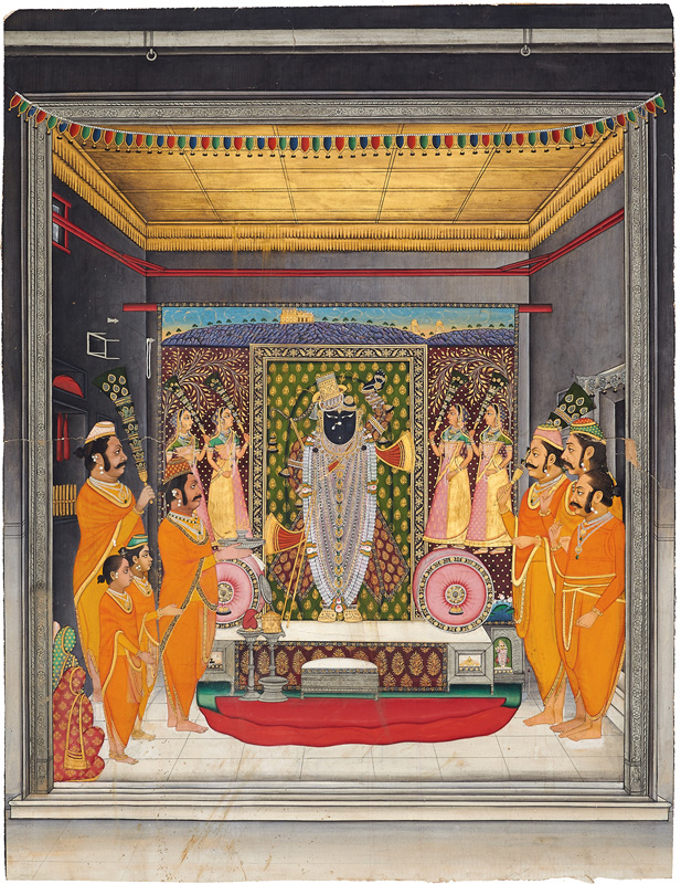 Shrinathji as bridegroom, manorath performed by Tilkayat Govardhanlalji and other Goswamis