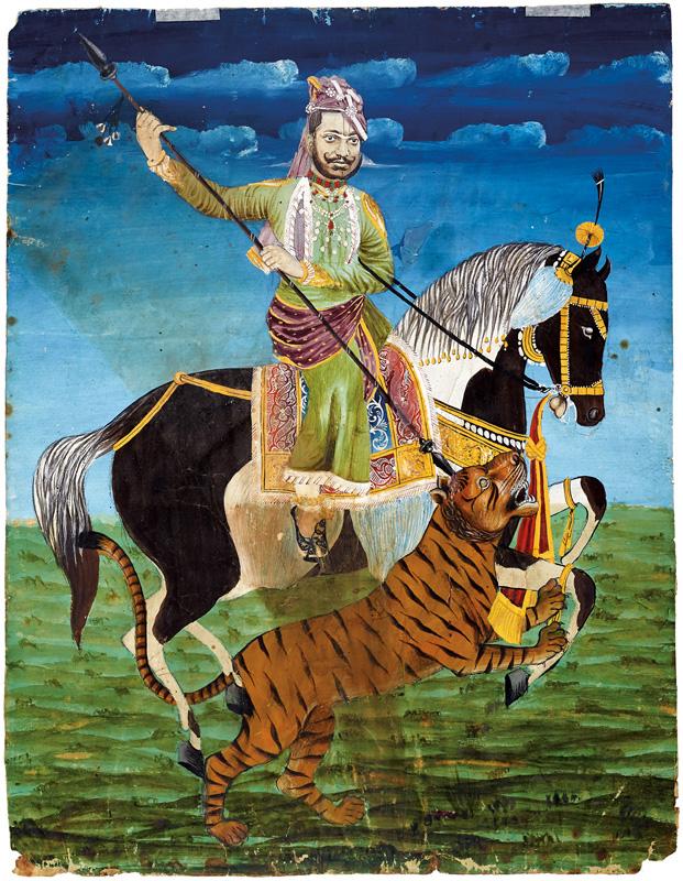 Maharaja Sawai Ram Singh II of Jaipur hunting a tiger