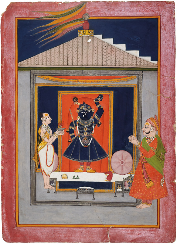 Maharaja Kishor Singh of Kotah worshiping Shrinathji
