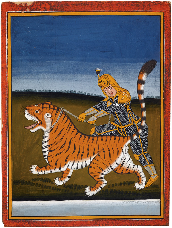An armoured queen taming a tiger