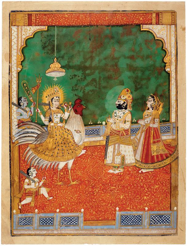 Maharaja Takhat Singh worshipping Bahuchara Mata