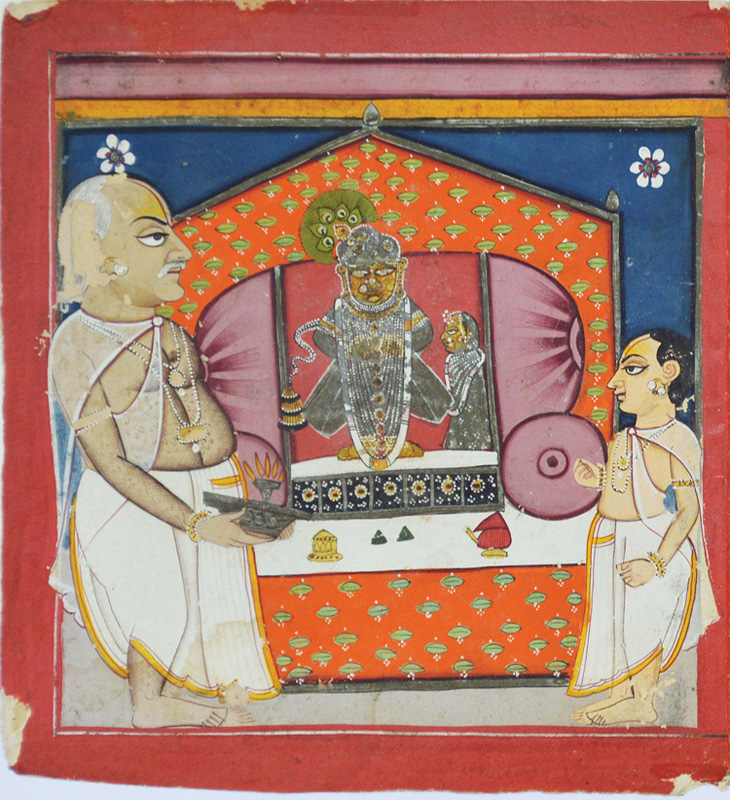 Goswami Damodarji performs aarti to Vitthalnathji