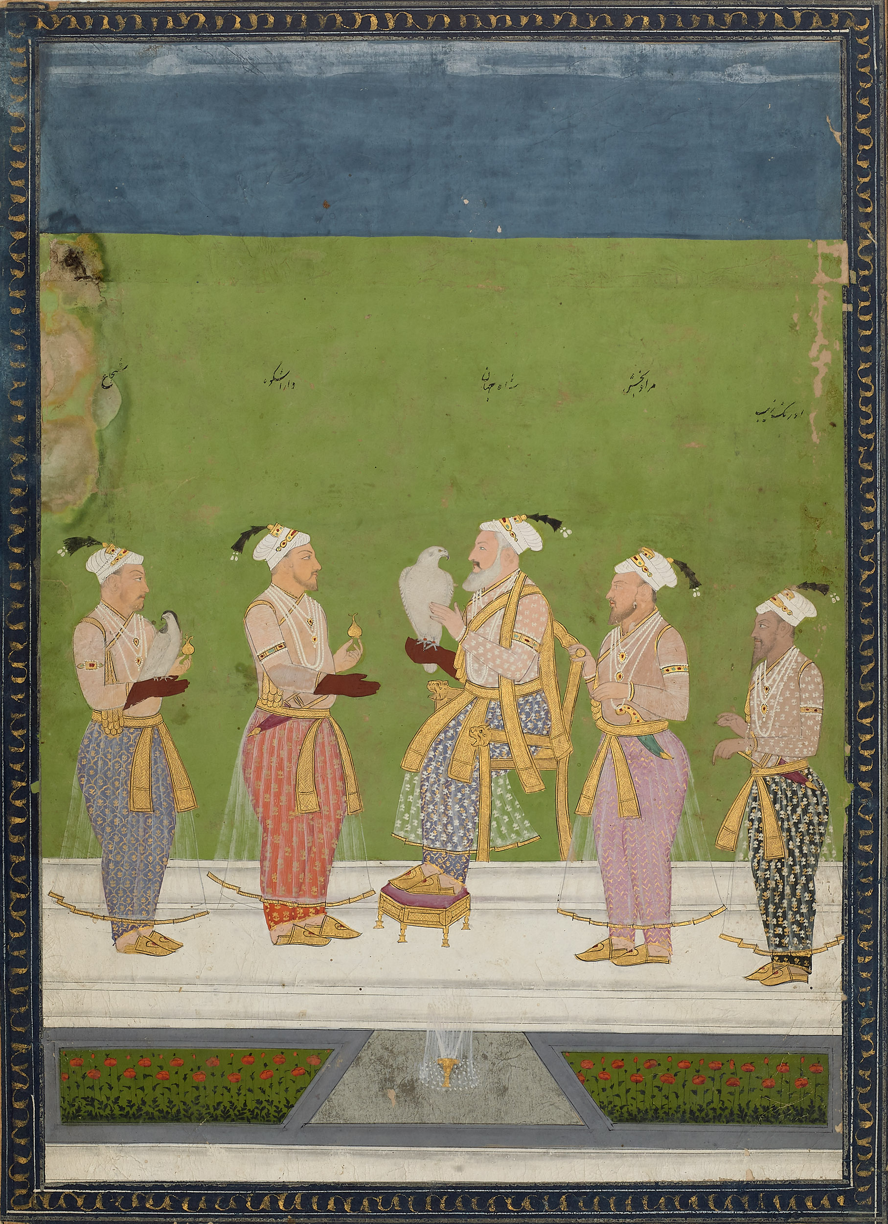 Shah Jahan with His Four Sons