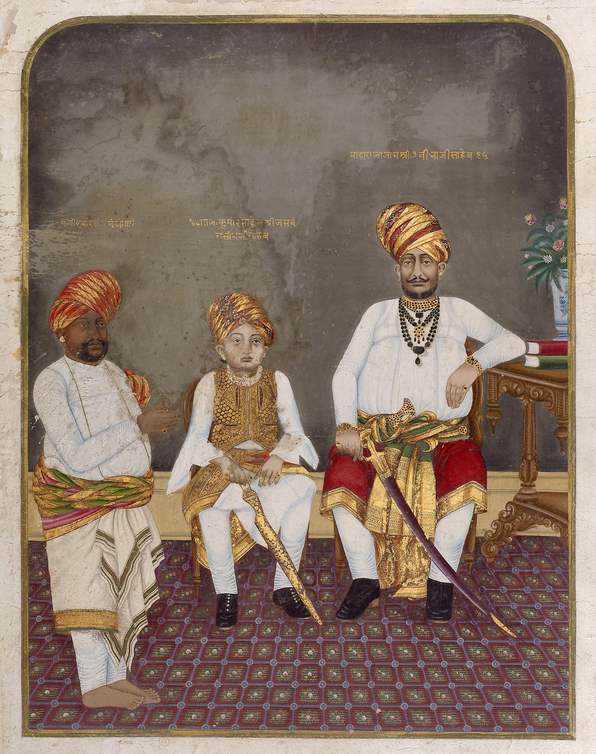 Maharaja Jam Vibhaji with His Son Kumar Jaswantji Vibhaji