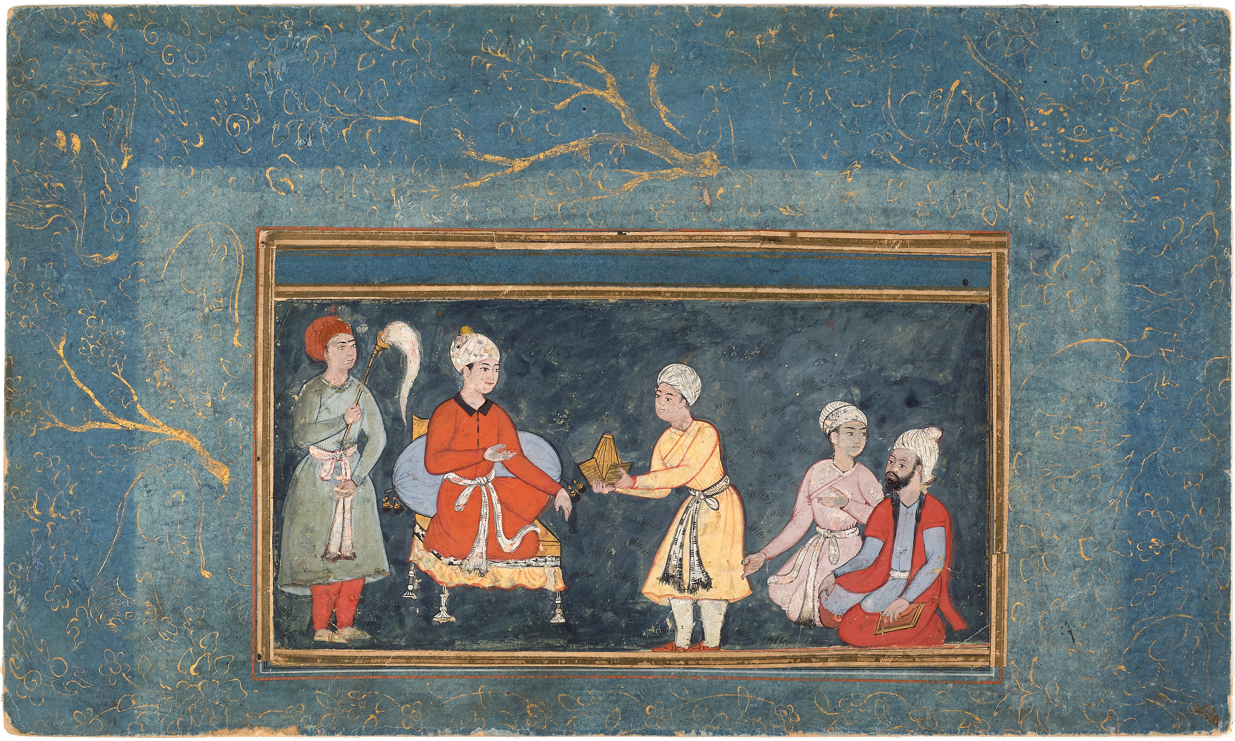 An Enthroned Prince Receives a Turban