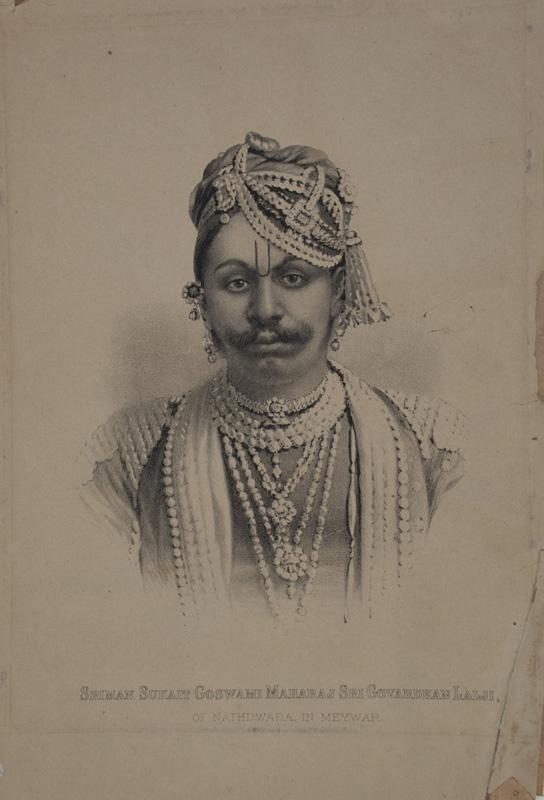 Lithograph of Govardhanlalji after a British photographers portrait