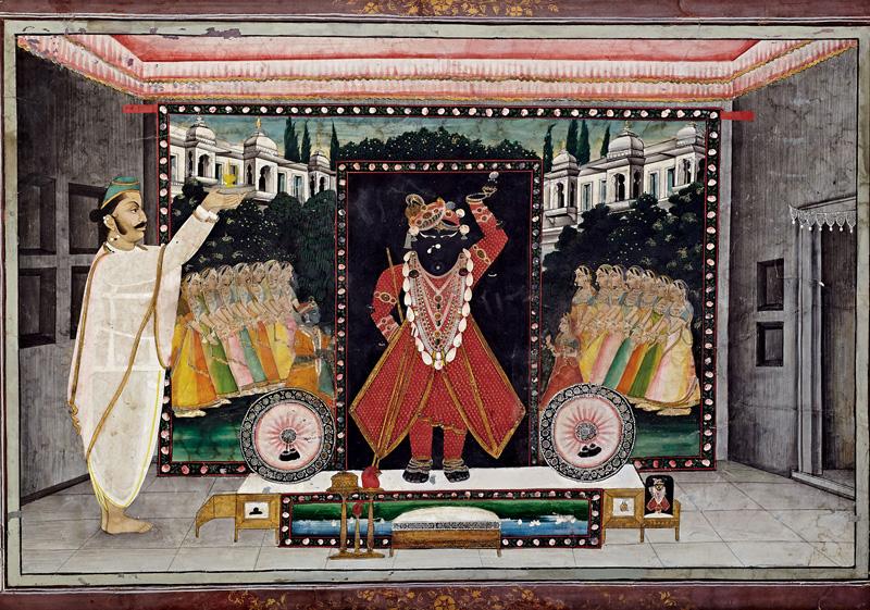 Govardhanlalji performing Aarti of Shrinathji During Gangaur Festival