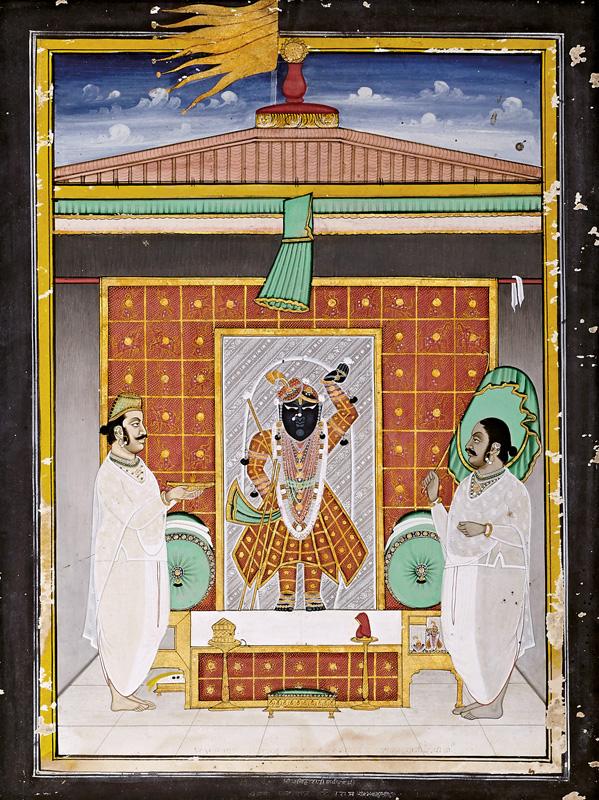 Govardhanlalji performing Aarti on the day of Chunri Gangaur