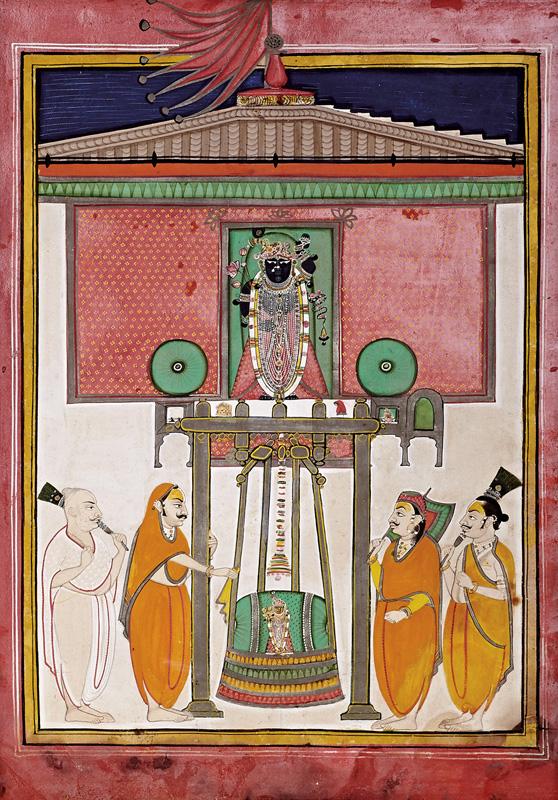 Shrinathji and Madanmohanji on Hindola