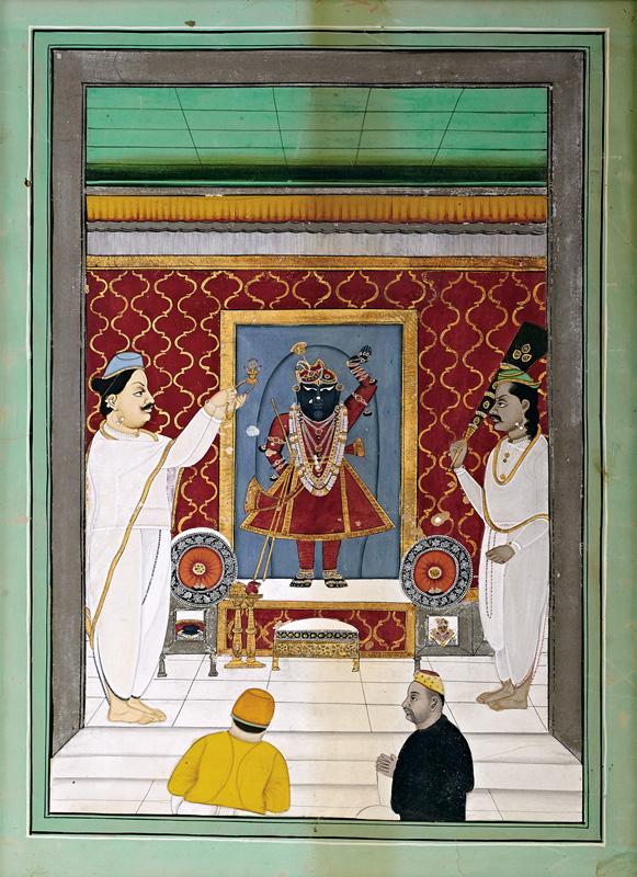 Govardhanlalji performing Aarti of Shrinathji