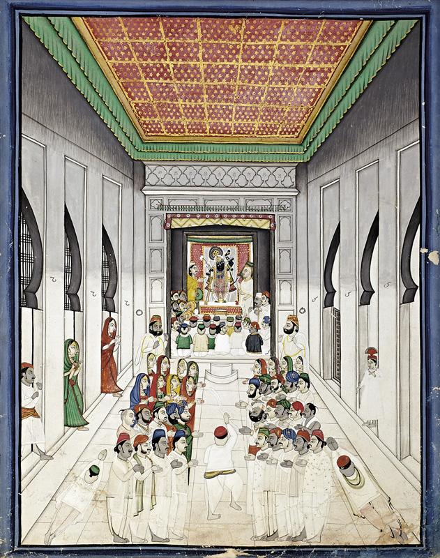 Devotees worshiping in the Shrine of Shrinathji