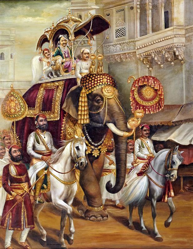 Govardhanlalji passing through a palace while on Tour of Nathdwara