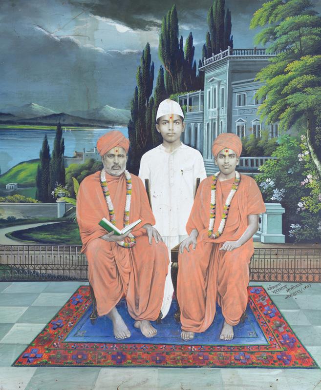 Swaminarayan Saints with child devotee
