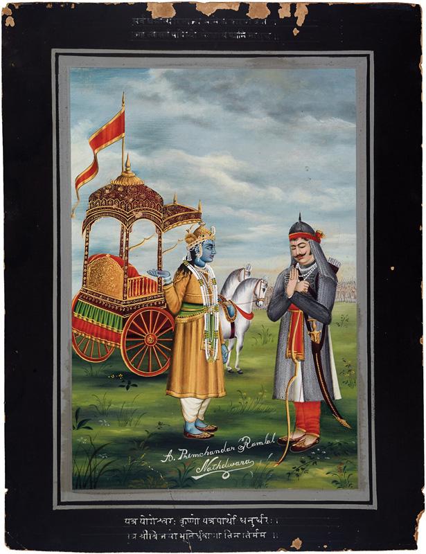 Lord Krishna preaching Arjuna in the battlefield