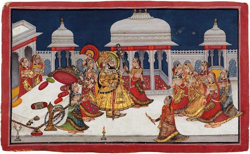 Maharana Bhim Singh of Mewar in his harem