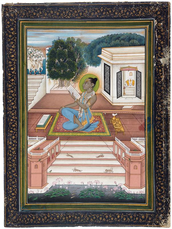 Gokulnathji reciting from a manuscript