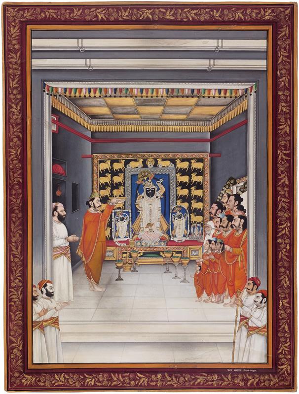 Maharana Fateh Singh attending Manorath of five swarups at Nathdwara