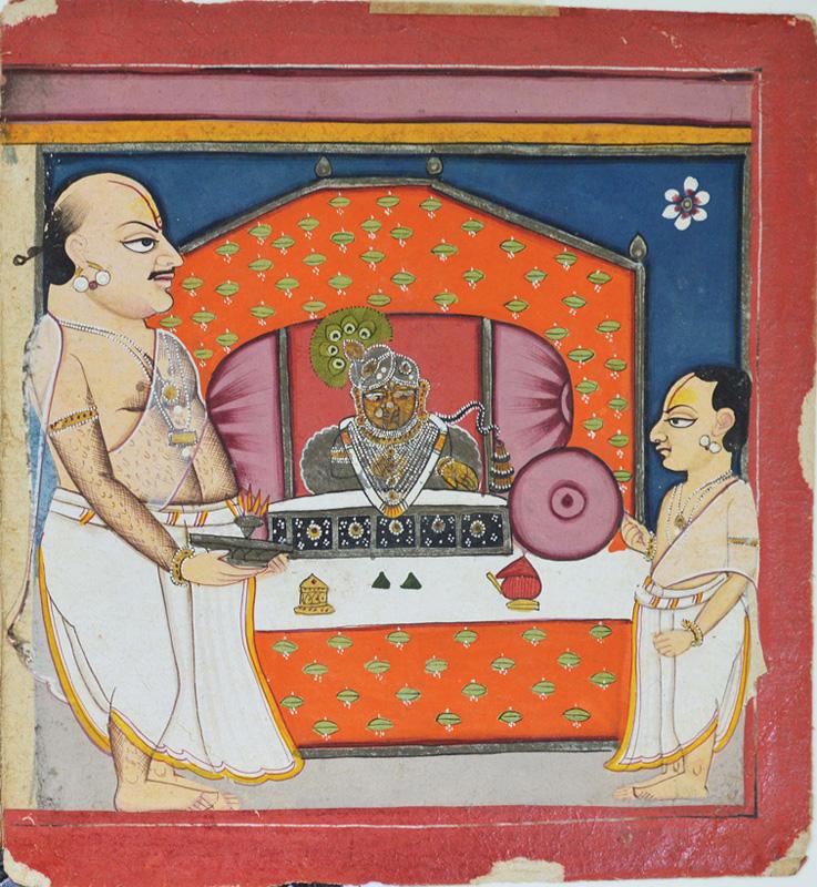 Tilkayat Govindji performs aarti to Navneetpriyaji